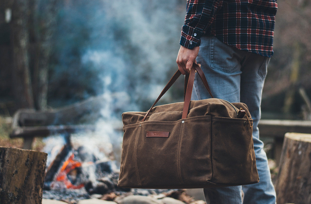 Waxed canvas duffle bag, tool bag, weekend bag, made in portland, canvas bag, work bag, durable goods, The waxed canvas duffle bag is durable enough for your work tools or whatever you need on a lifelong adventure. It's built to be put to the test and designed to look good. From the gym to the mountains, from fishing trips to weekend getaways, this bag will be by your side for many years and miles.