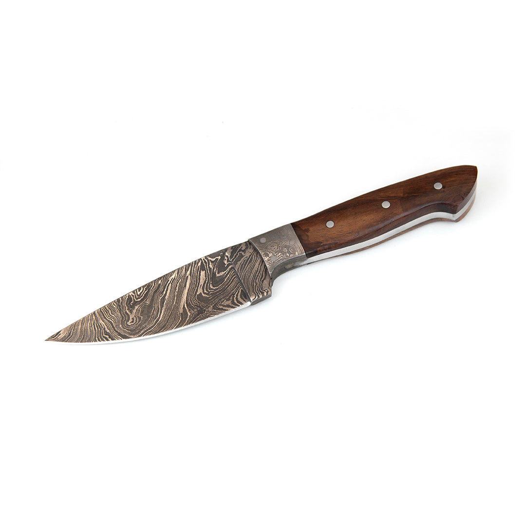 "9"" Damascus Steel Knife and Sheath - Walnut Handle"