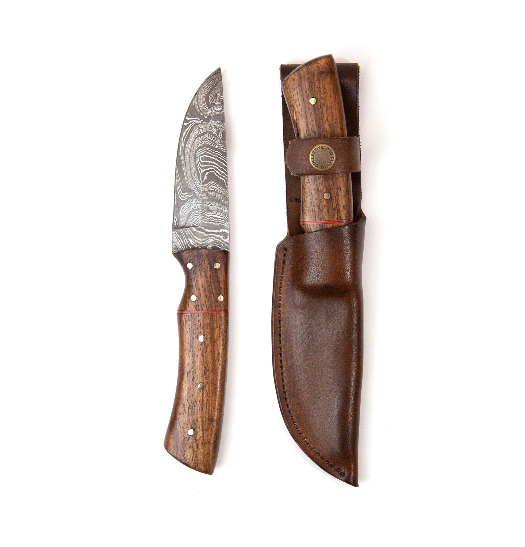 "8"" Damascus Steel Knife and Sheath - Walnut Handle"