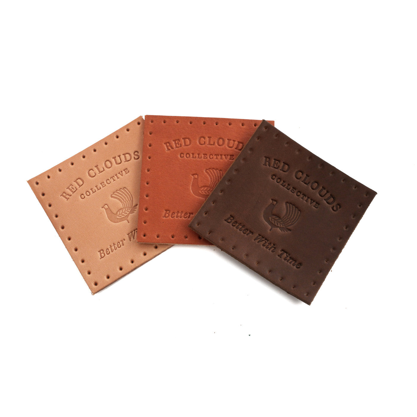 Leather patch, pre-punched holes, red clouds patch, vegetable tanned leather, made in usa, made in oregon, hand sew, better with time
