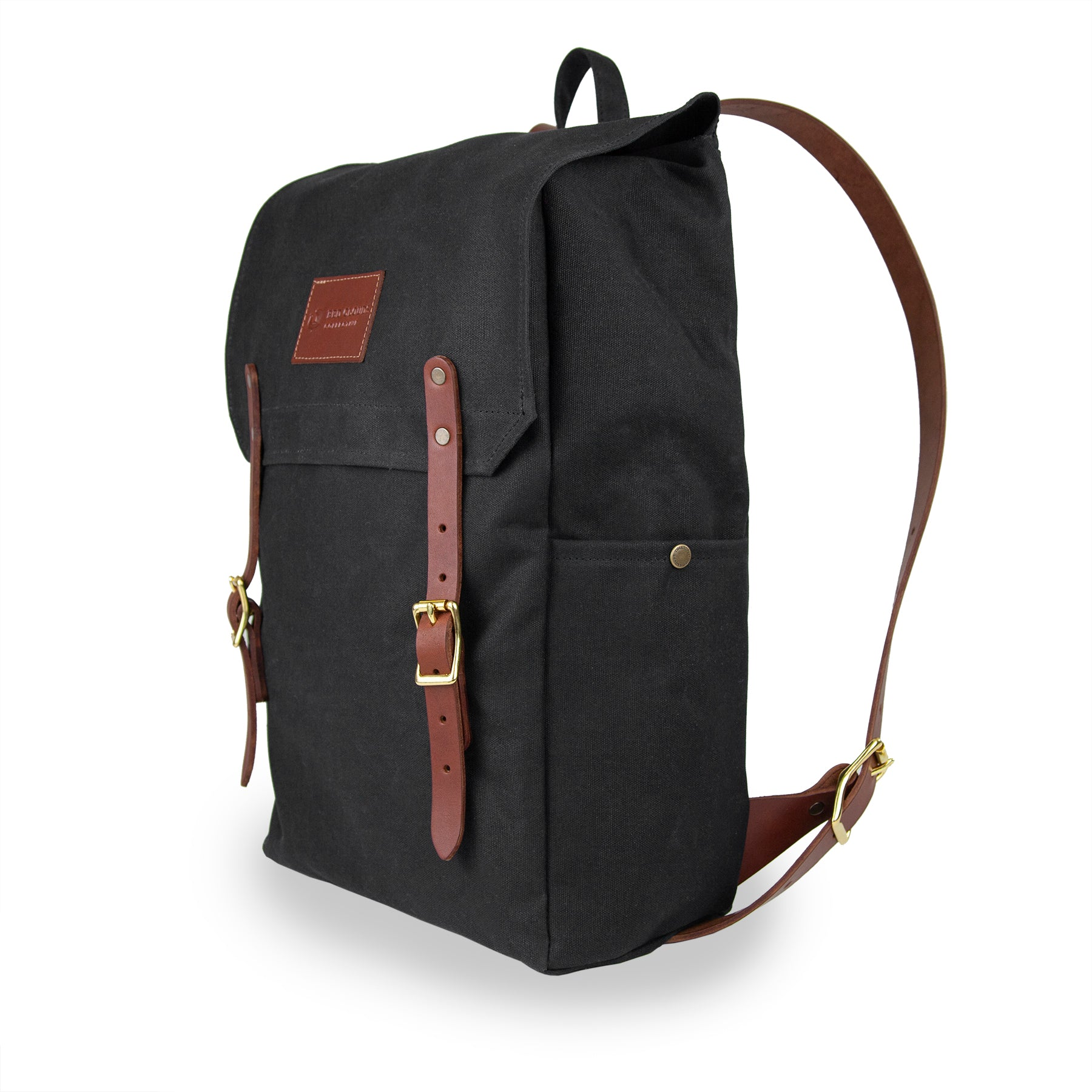 Day Tripper Backpack - Black with Brown Leather