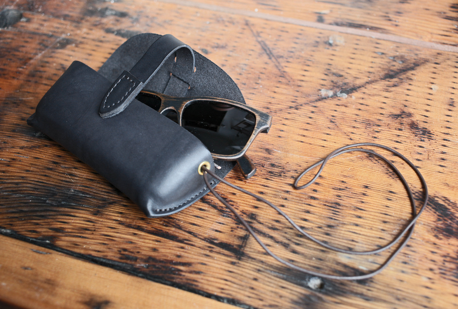 Leather Glasses Case - Black