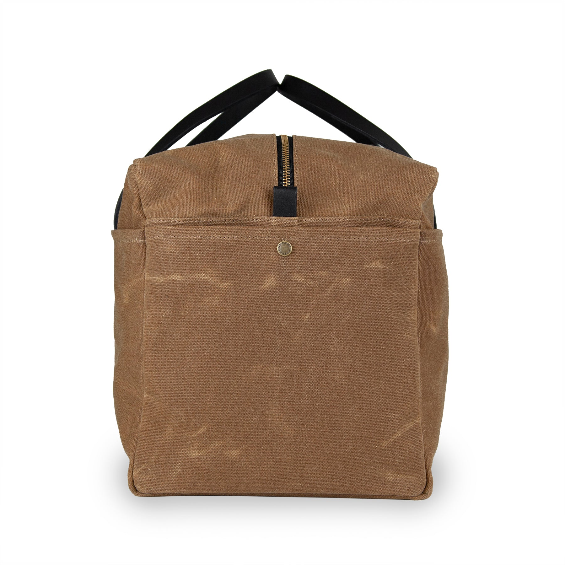 Waxed Canvas Duffle Bag - Brush Brown With Black Leather