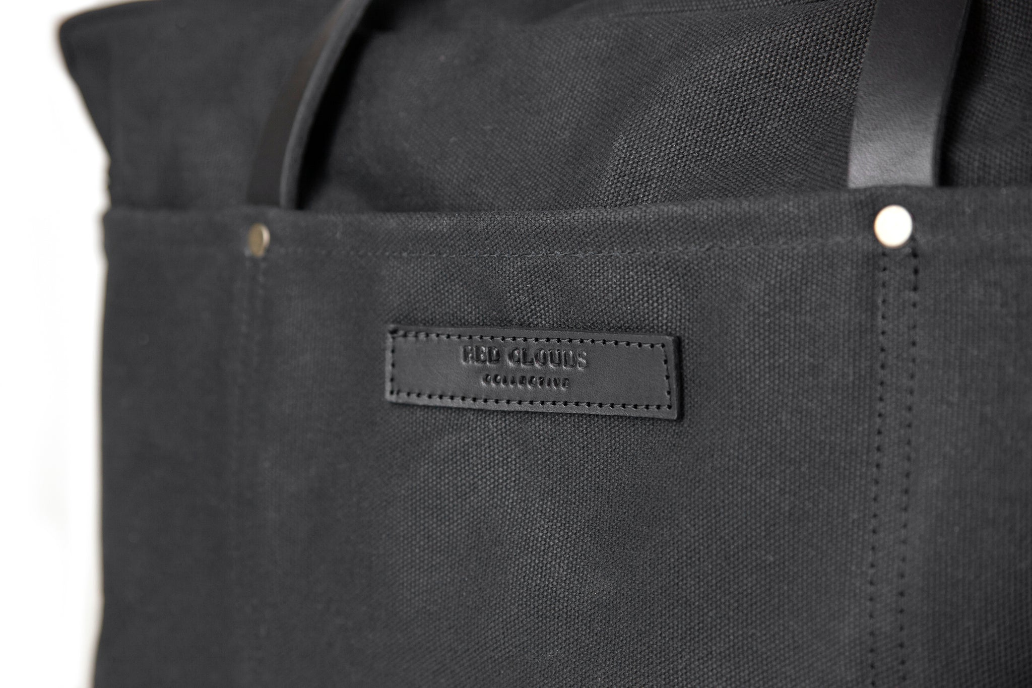 Waxed Canvas Duffle Bag - Black with Black Leather