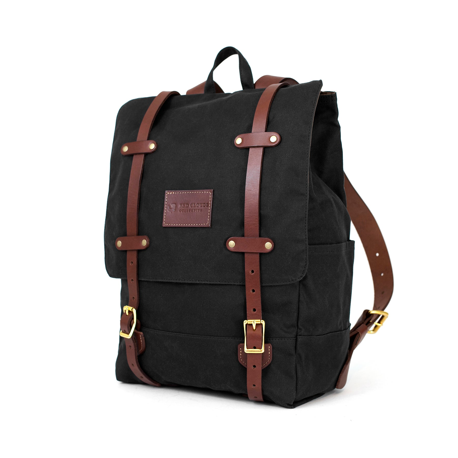 Waxed Canvas Backpack, made in usa, backpack, rucksack, bag, waxed bag, leather straps, quality backpack, red clouds collective, backpack