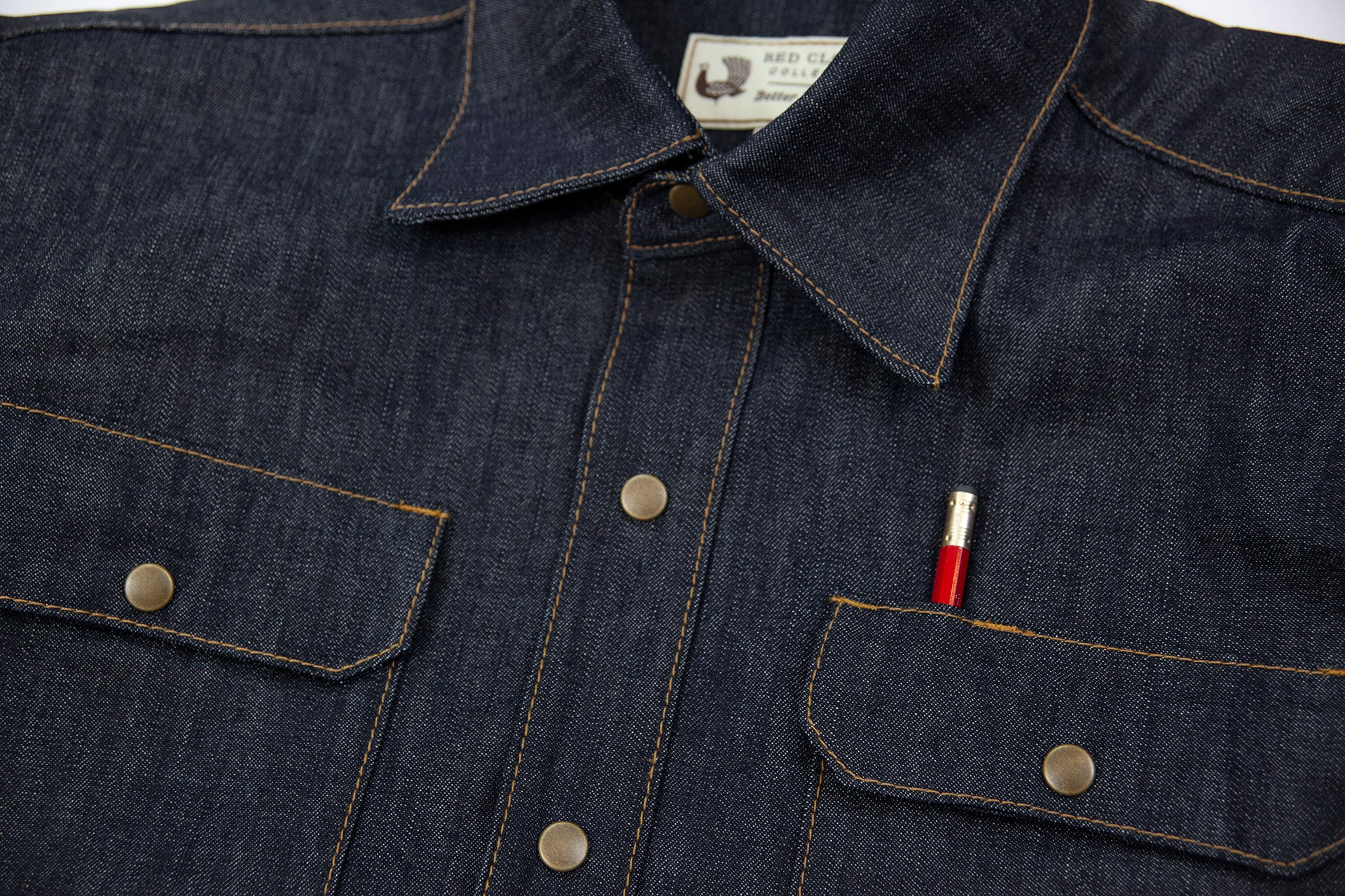 selvage denim work shirt, work shirt, made in usa, durable shirt, heavy duty shirt, made to last, made in portland, quality clothing, durable work shirt, selvage denim, moto, witham work shirt, red clouds shirt