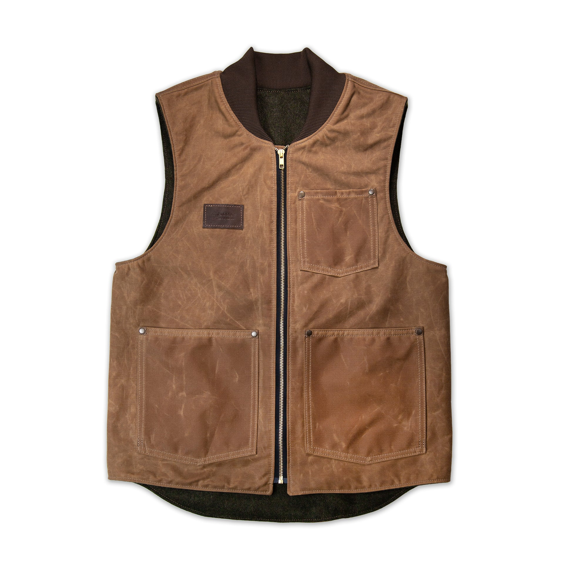 Work vest, waxed vest, red clouds collective, moto vest, best best, riding vest, heavy duty vest, durable vest, wool vest, durable, made in usa, made in america, quality vest