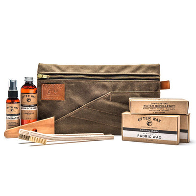 waxed canvas, care kit, otter wax, red clouds collective, bar of wax, tin cloth