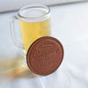 leather coaster, beer coaster, drink in style, made in usa, vegetable tanned leather, red clouds coaster