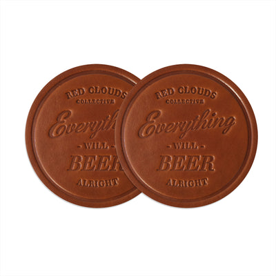 leather, leather beer coaster, leather drink coaster, handmade, handcrafted in the usa, american made, set of leather coasters