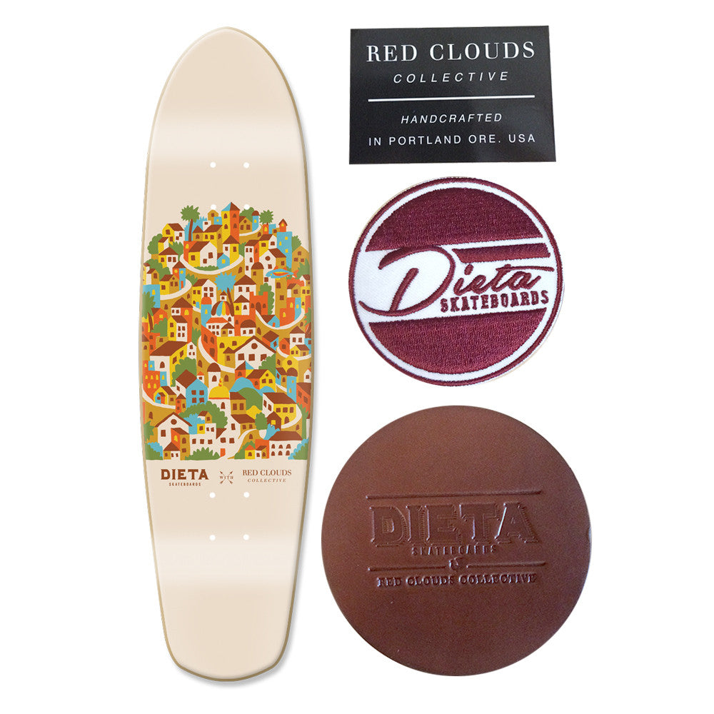 red clouds skateboard, cruiser deck, dieta x red clouds, zip zinger, beer run, red clouds deck, dieta skateboards, dave wien, david wien art