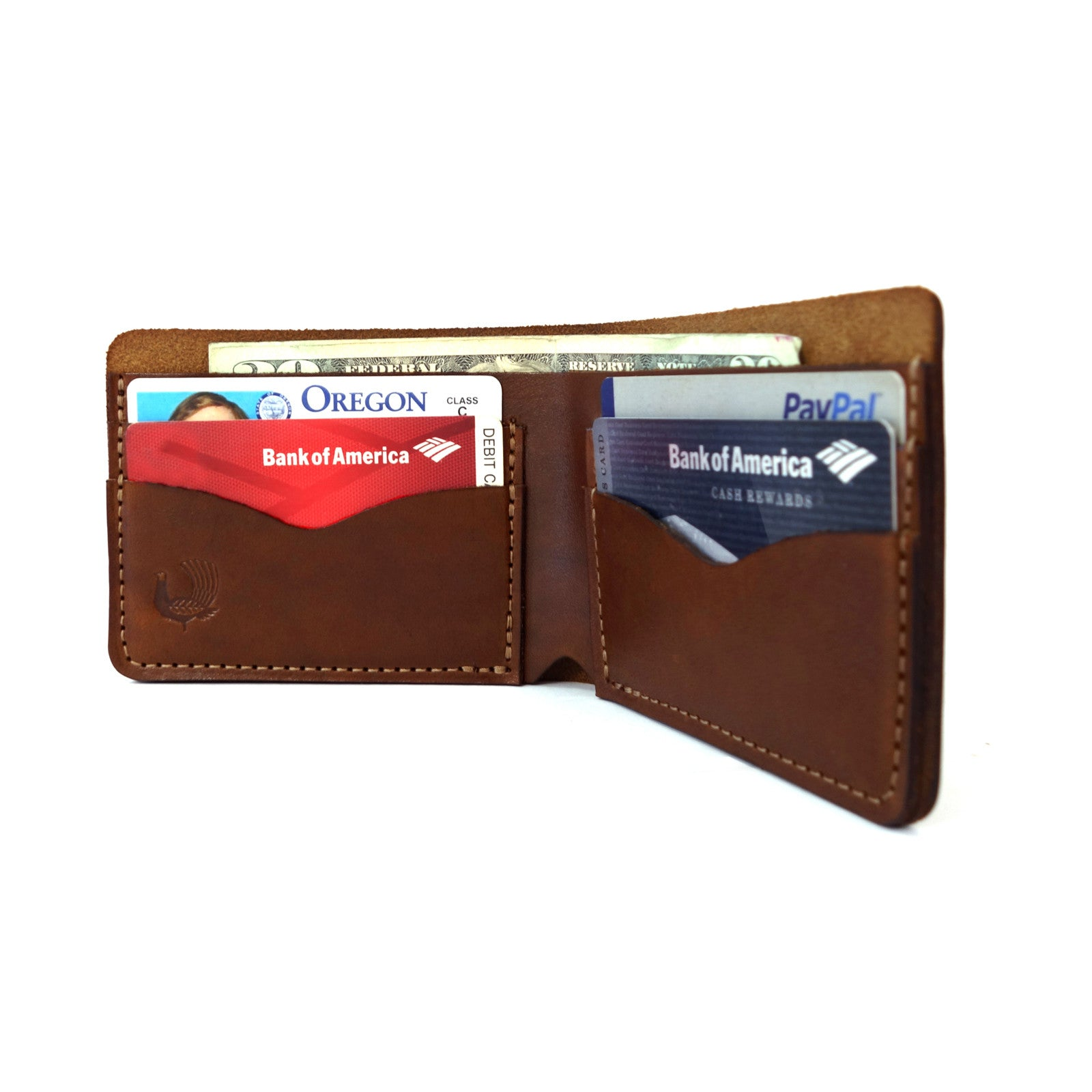 Built to last you a lifetime, the Donovan Wallet is a classic bi-fold leather wallet with a sophisticated look and feel.  3/4oz & 2/3oz Herman Oak Vegetable-Tanned Leather, 4 Card-Slots, 1 Length Long Pocket for Cash. Best leather wallet. Slim wallet. bifold.