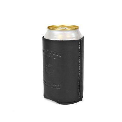 leather koozie, leather can, leather coozie, coaster, leather beer holder, leather bottle koozie, made in usa, black leather