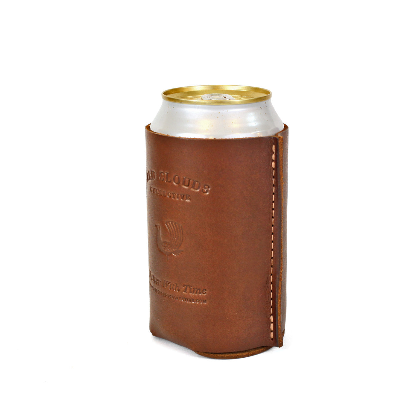 leather koozie, leather can, leather coozie, coaster, leather beer holder, leather bottle koozie, made in usa, tan leather