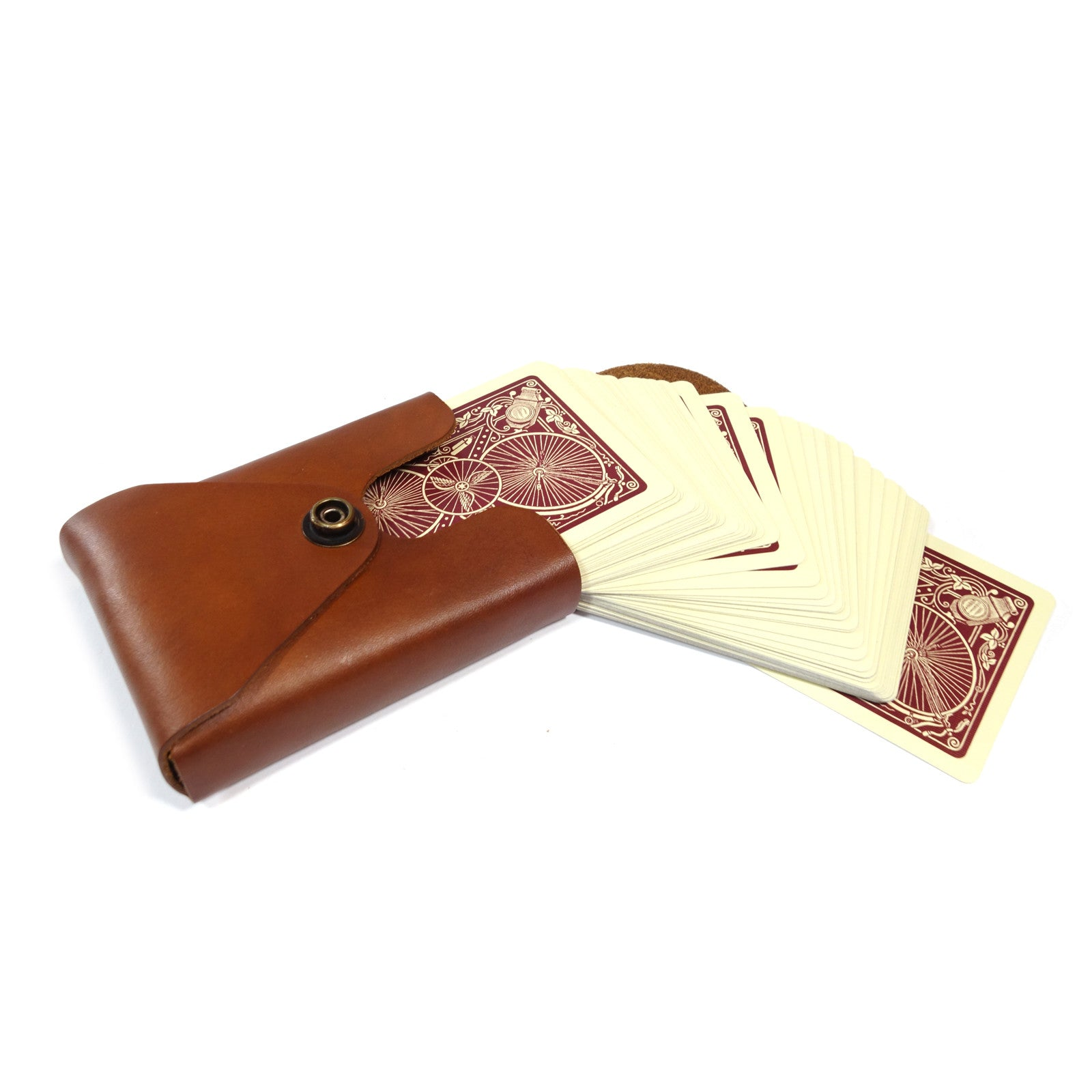 Leather Card Case, playing cards, bicycle cards, poker, card games, handmade, made in usa, handcrafted, leather case, card case