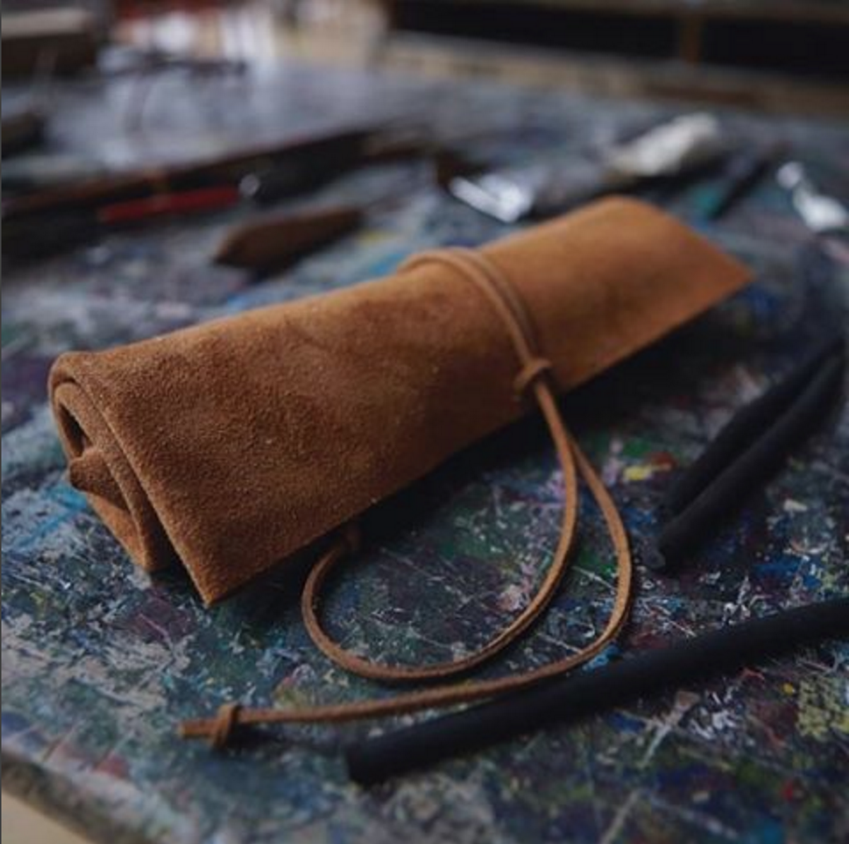 leather tool roll, suede tool roll, tool bag, tool pouch, classic roll, old tool roll, motorcycle tool roll, old timer tool roll, red clouds tool roll