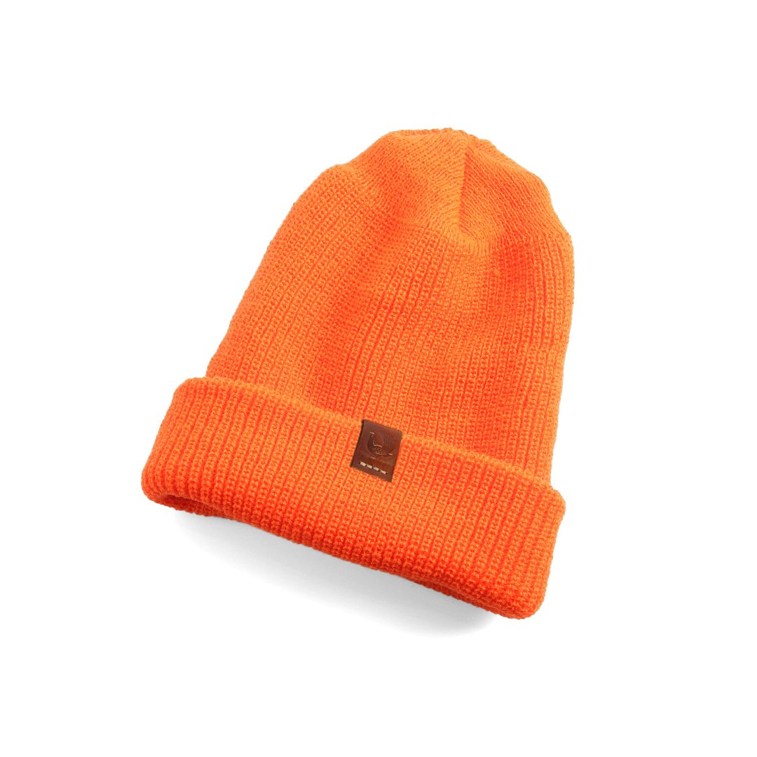 watch cap, beanie, wool hat, orange hat, winter hat, red clouds hat, watch cap, orange, acrylic, made in usa