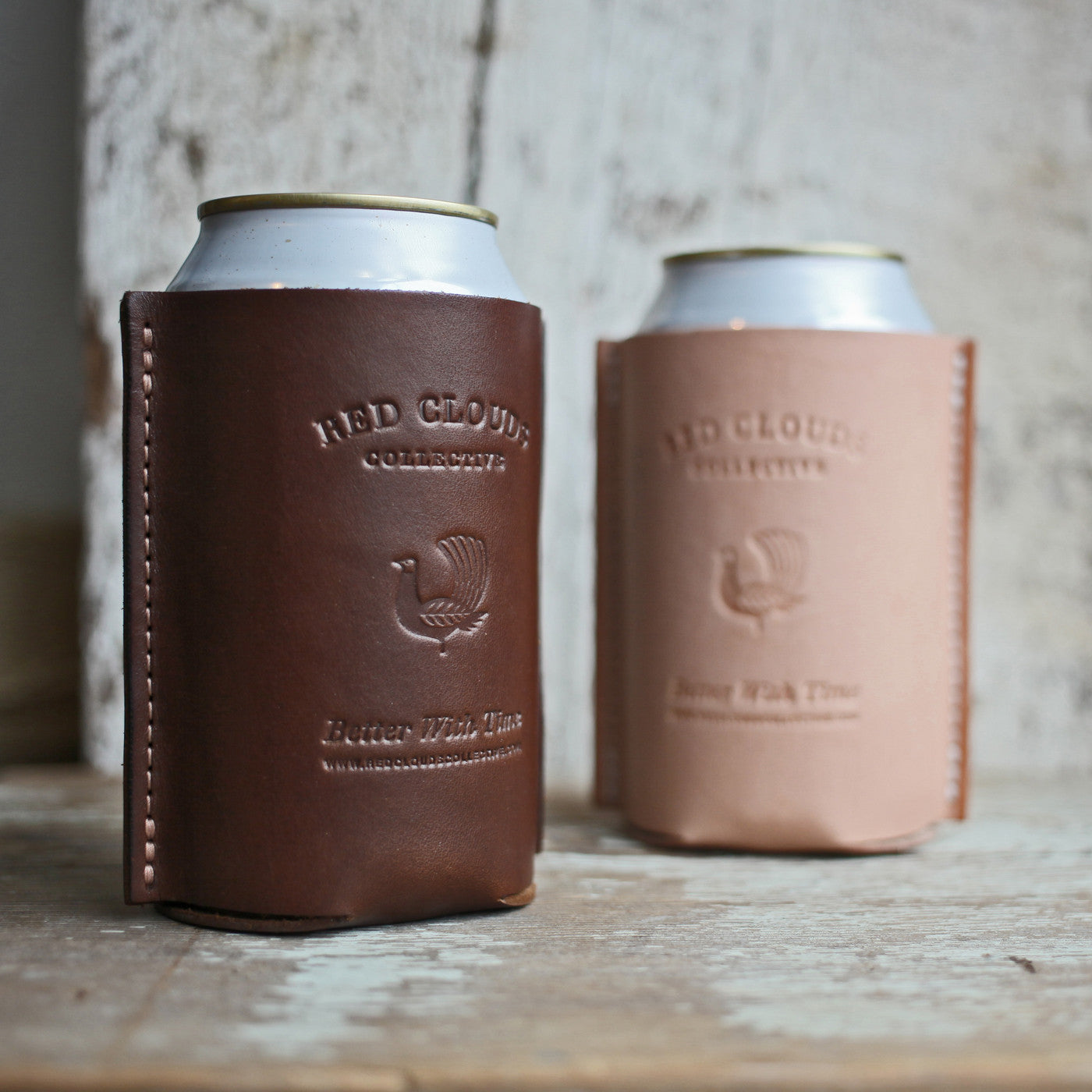 leather koozie, leather can, leather coozie, coaster, leather beer holder, leather bottle koozie, made in usa, raw leather