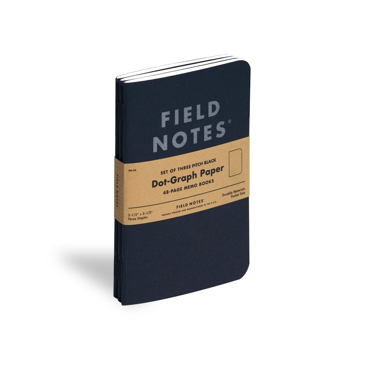 Field Notes Pitch Black 3-Pack Memo Book