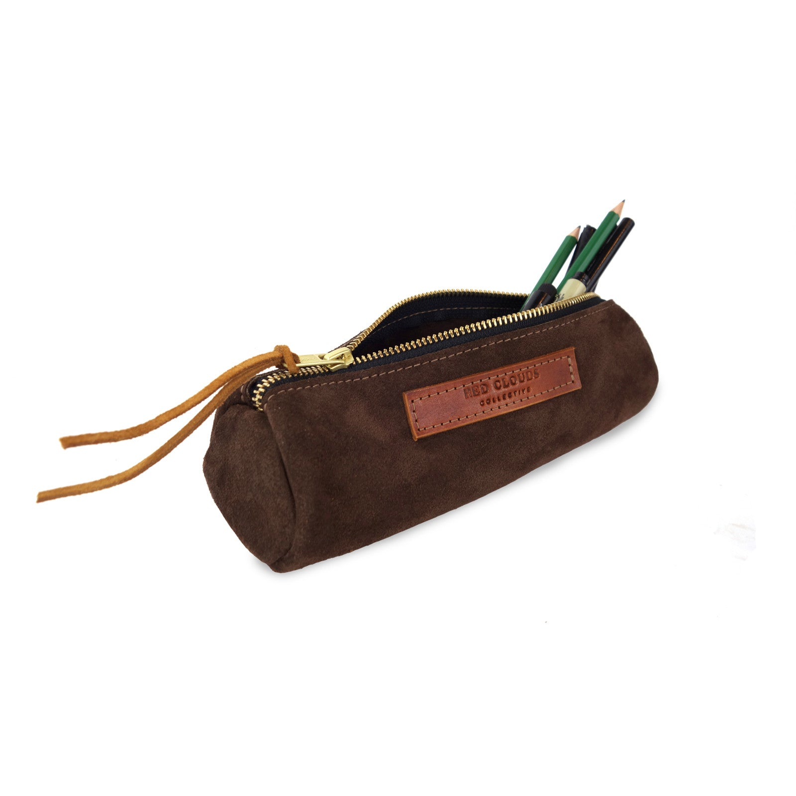 Round pencil case, suede case, suede pouch, leather case, pencil case, pen case, brush holder, tool pouch, pencil pouch, This versatile case can hold tools of all types, including pencils, pens, paint brushes and anything else you might need to get a project done.