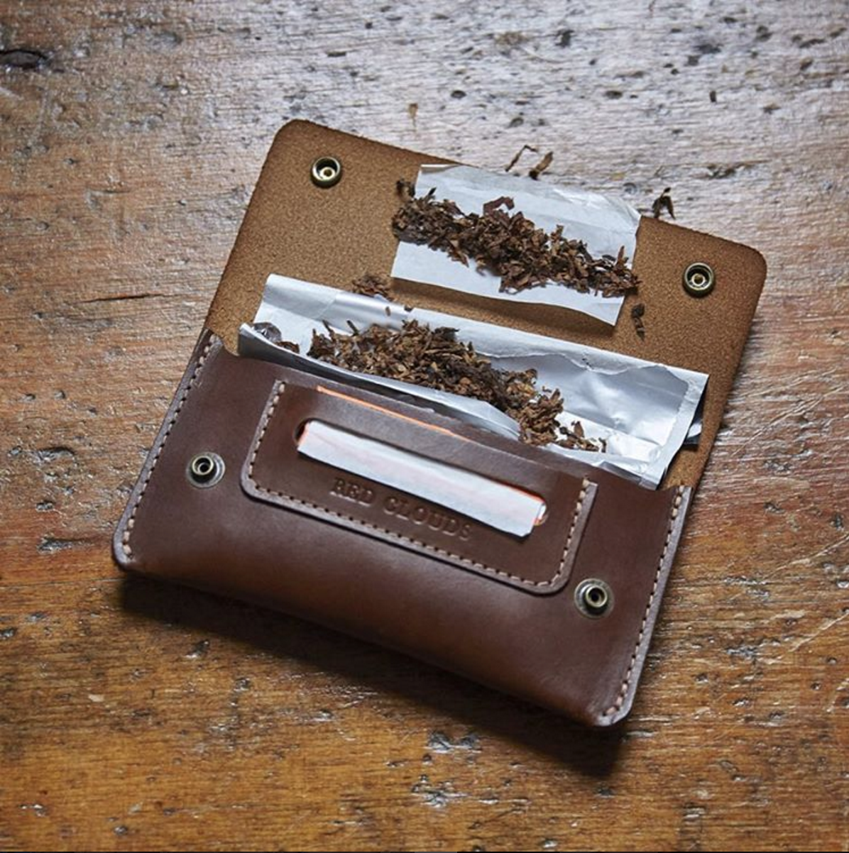 tobacco pouch, leather pouch, leather case, rolling pouch, rolling tobacco, made in usa, handmade, handcrafted