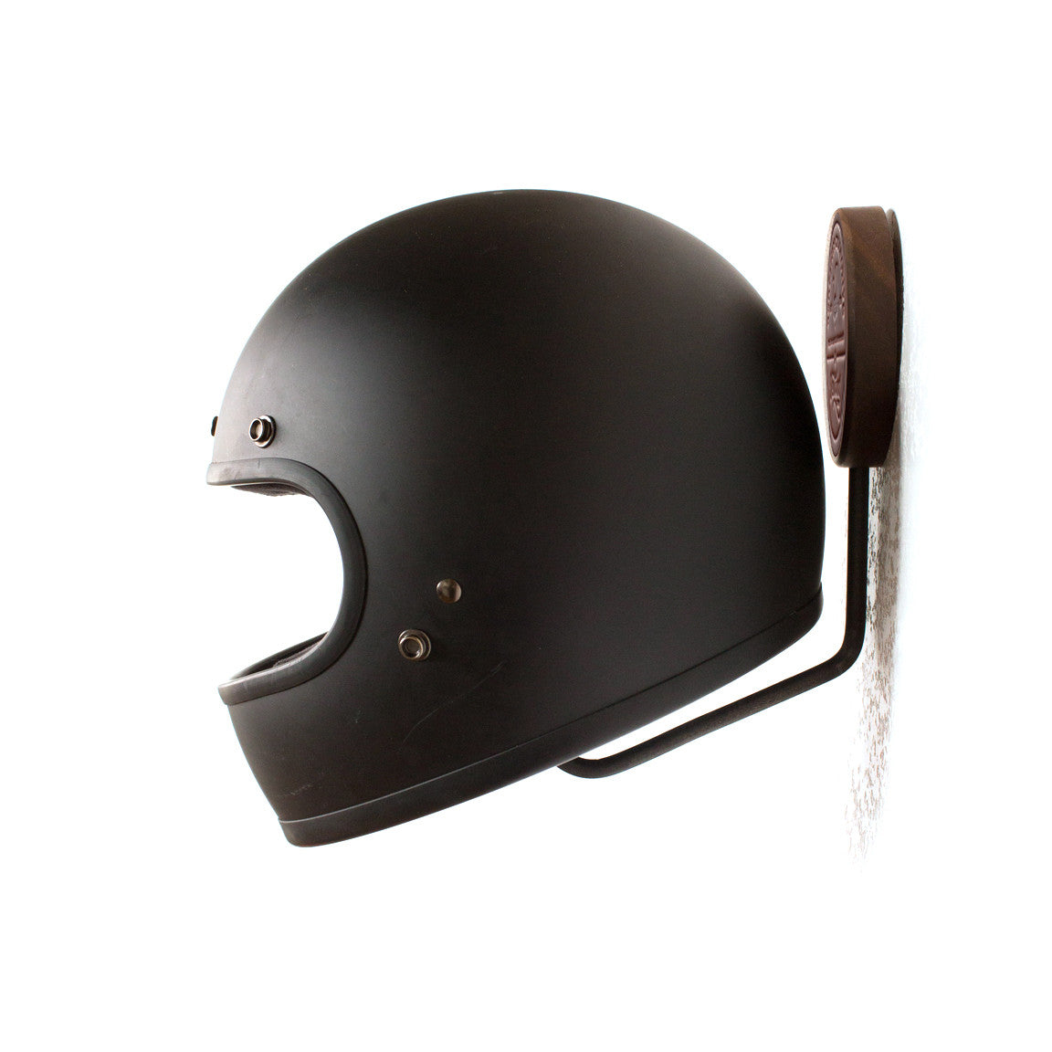 helmet rack, wood helmet rack, motorcycle helmet rack, metal helmet rack, leather and wood, metal and wood, westbound and red clouds
