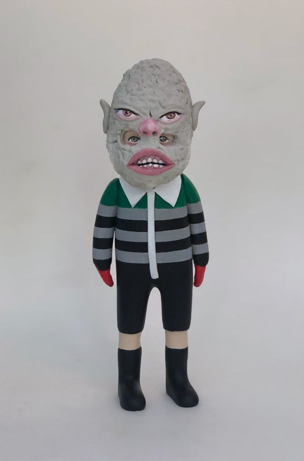 Masked Kiddo (green striped overall )