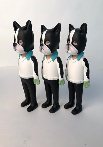 Dog Masked Kiddo (aqua collar/white sweater)