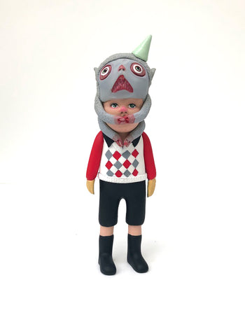 Kiddo with monster headpiece (red and grey diamond sweater)