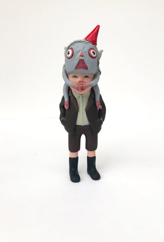 Kiddo with monster headpiece (brown suit)