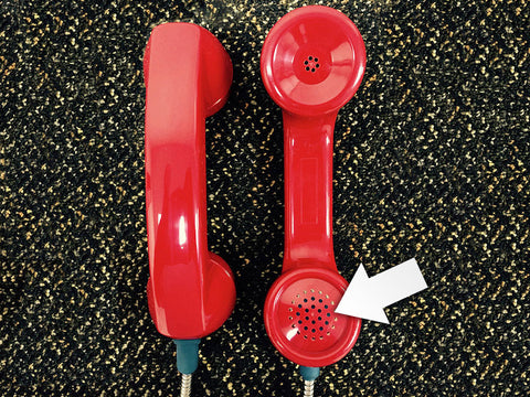 Red Handset with Blue Dot