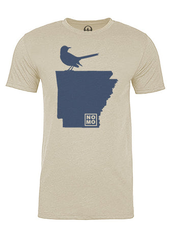 Arkansas State Bird Tee/Navy on Antique White - Men's