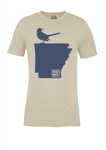 Arkansas State Bird Tee/Navy on Antique White - Women's