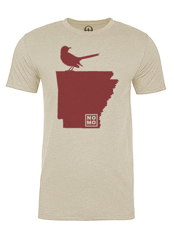 Arkansas State Bird Tee/Red on Antique White - Men's