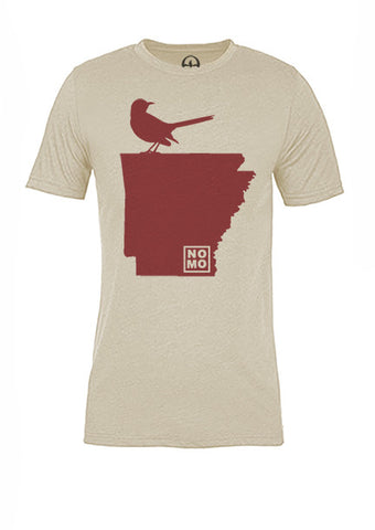 Arkansas State Bird Tee/Red on Antique White - Women's