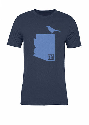 Arizona State Bird Tee/Light Blue on Navy - Women's