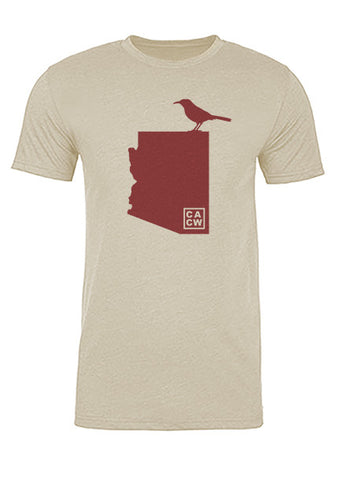Arizona State Bird Tee/Red on Antique White - Men's