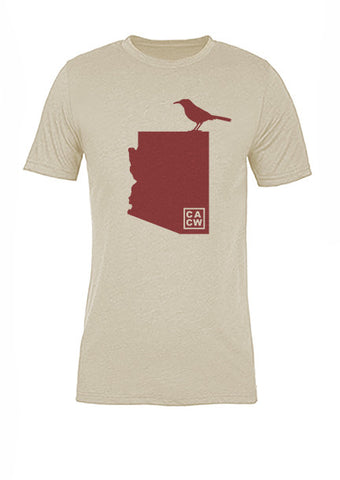 Arizona State Bird Tee/Red on Antique White - Women's