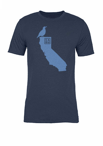 California State Bird Tee/Light Blue on Navy - Women's