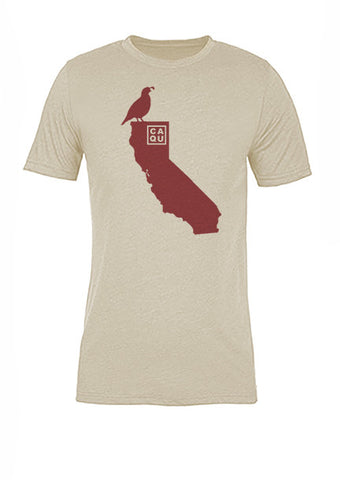 California State Bird Tee/Red on Antique White - Women's