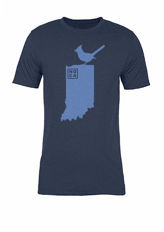 Indiana State Bird Tee/Light Blue on Navy - Women's