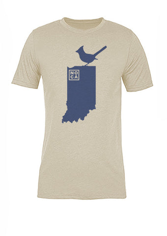 Indiana State Bird Tee/Navy on Antique White - Women's