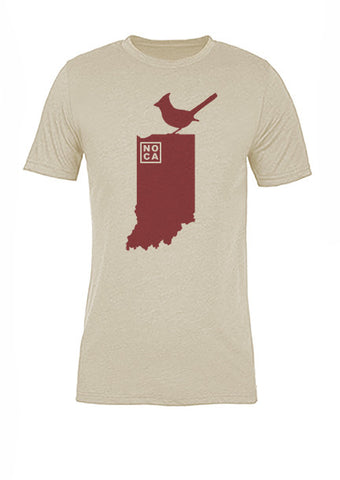 Indiana State Bird Tee/Red on Antique White - Women's