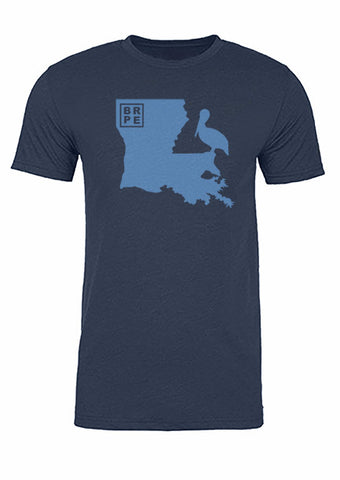 Louisiana State Bird Tee/Light Blue on Navy - Men's