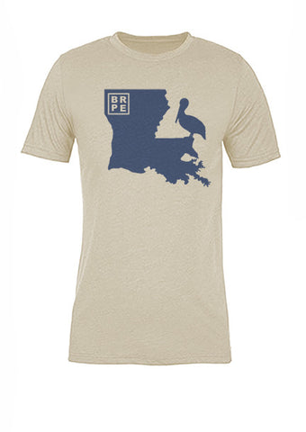Louisiana State Bird Tee/Navy on Antique White - Women's