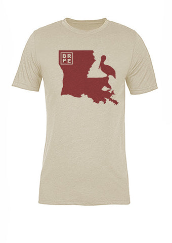 Louisiana State Bird Tee/Red on Antique White - Women's