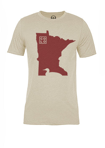 Minnesota State Bird Tee/Red on Antique White - Women's