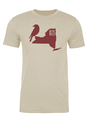 New York State Bird Tee/Red on Antique White - Men's