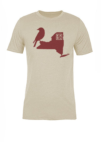 New York State Bird Tee/Red on Antique White - Women's