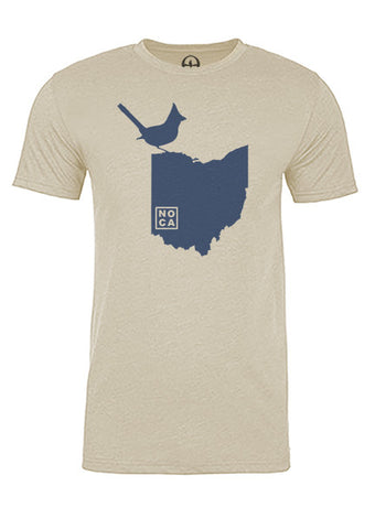 Ohio State Bird Tee/Navy on Antique White - Men's